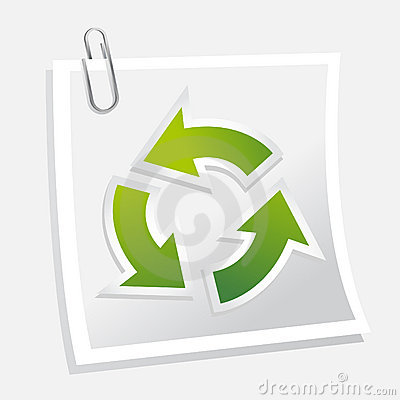 Recycle symbol with note