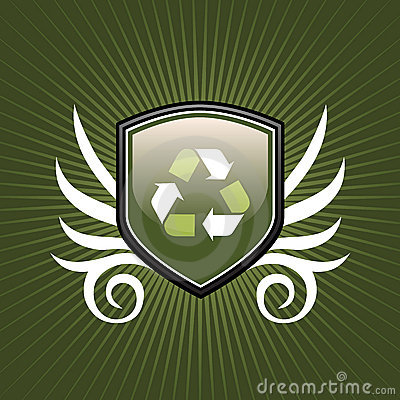 Recycle symbol shield emblem