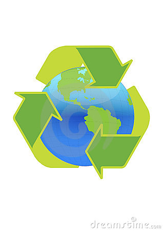 Recycle symbol surrounding the globe