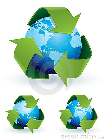 Recycle symbol world map
