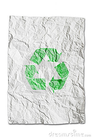 Recycle symbol on wrinkled paper isolated