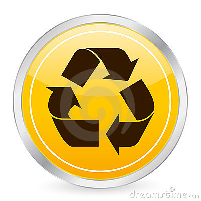 Recycle symbol yellow circle i