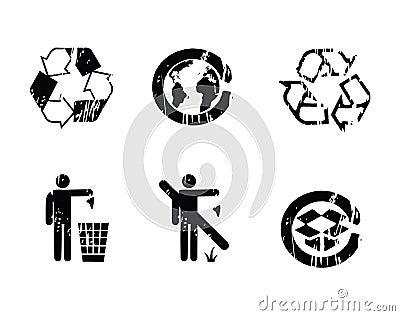 Recycle symbols grunge effect