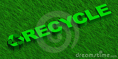 Recycle word over green grass