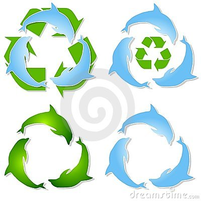 Recycled Dolphins Green Blue