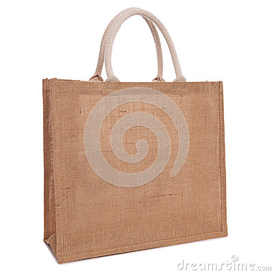 Recycled hessian sack shopping bag isolated on white