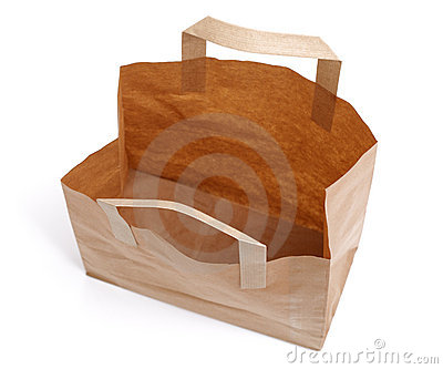 Recycled paper bag from above
