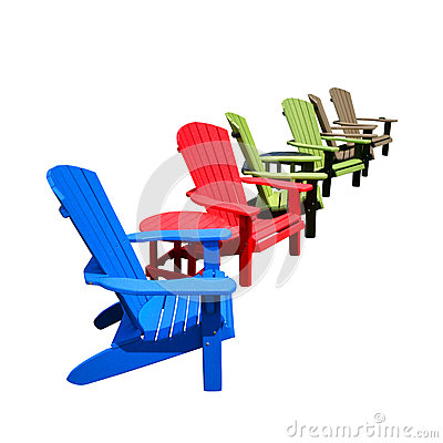 Free Recycled Plastic Color Adirondack Chairs In Row Royalty Free Stock Photo - 42800445