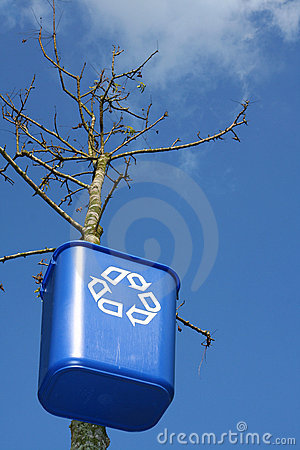 Recycling bin on tree