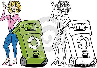 Recycling Bin Woman Set