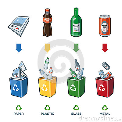 Free Recycling Bins For Paper Plastic Glass Metal Trash Stock Photos - 46043093