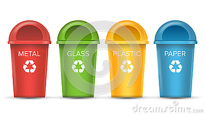 Recycling Bins Isolated Vector. Set Of Red, Green, Blue, Yellow, White Buckets. For Paper, Glass, Metal, Plastic Vector Illustration