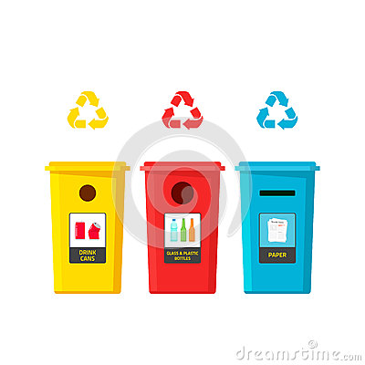 Free Recycling Bins Vector Illustration Isolated On White Background Royalty Free Stock Photography - 70898797