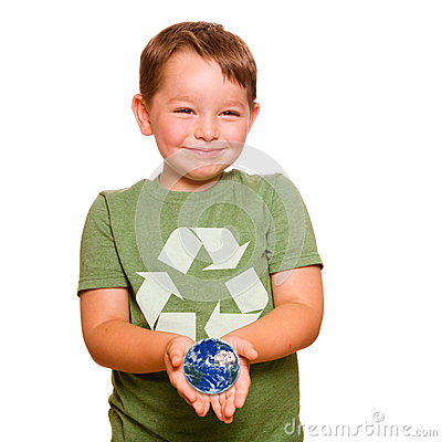Recycling concept with child holding the Earth