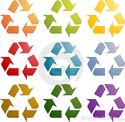 Recycling eco icon set