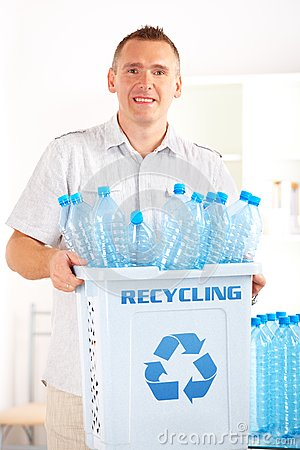 Recycling Man With Bin