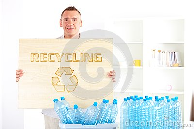 Recycling Man With Board