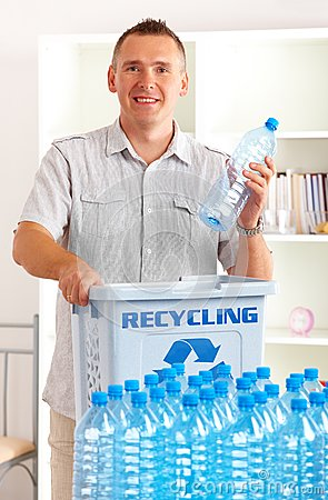 Recycling Man With Bottles