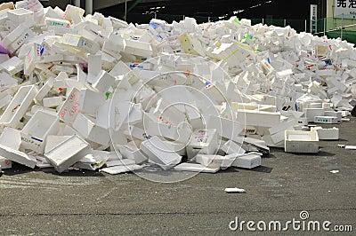 Recycling polystyrine styrofoam Editorial Image