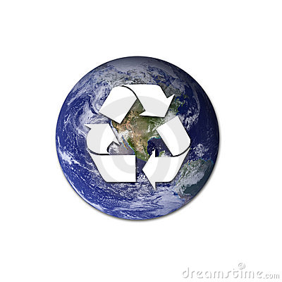 Recycling sign with earth