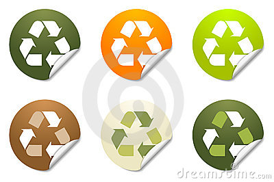 Recycling sticker icons