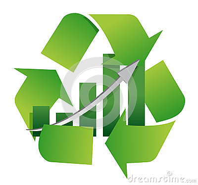 Recycling symbol with a bar chart in center