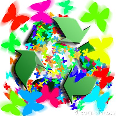 Recycling symbol with butterflies