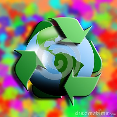 Recycling symbol with earth in the center