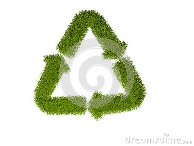 Recycling Symbol with grass