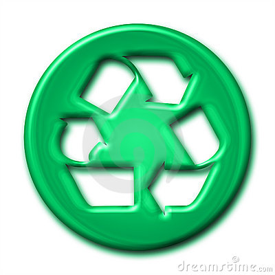 Recycling symbol in green tones