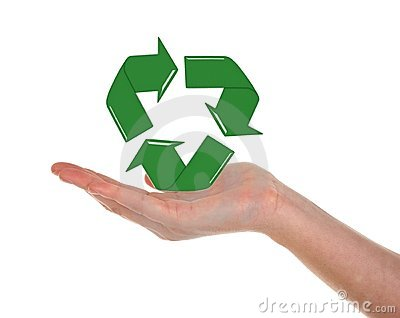 Recycling Symbol and Hand