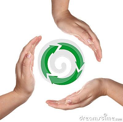 Recycling symbol between hands