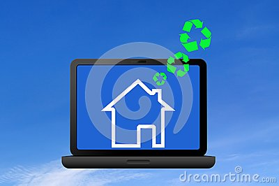 Recycling symbol and icon house