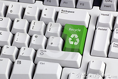 Recycling symbol on keyboard