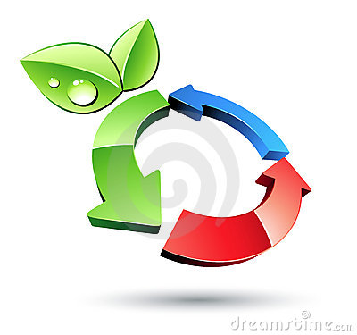 Recycling symbol and leaves