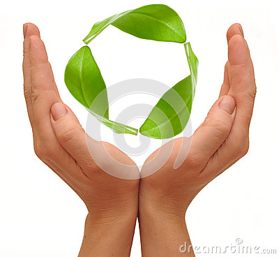 Recycling symbol made from hands