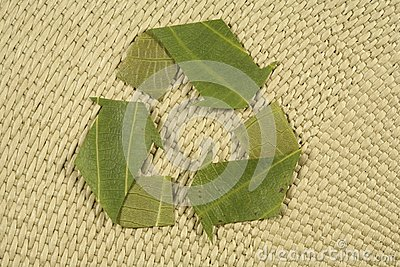 Recycling symbol made from leaves