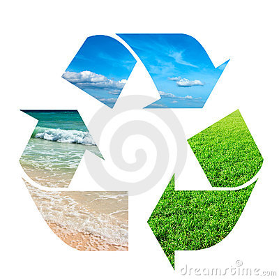 Free Recycling Symbol Made Of Sky, Grass And Water Royalty Free Stock Photography - 14012437
