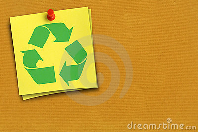 Recycling symbol on note