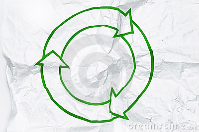 Recycling symbol on white crumpled paper