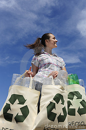 Free Recycling: Woman Holding Bag With Plastic Bottles Royalty Free Stock Photos - 13367508