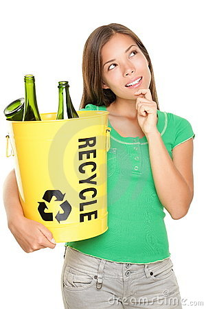 Recycling woman thinking