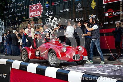 Red 1948 Fiat RG1 at the start of 2012 1000 Miglia Editorial Photography