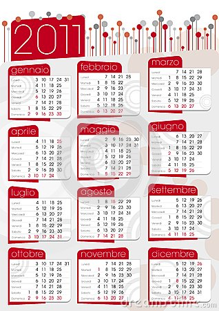 2011 calendar red. Royalty Free Stock Images: Red 2011 poster calendar
