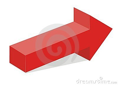 Red 3d arrow
