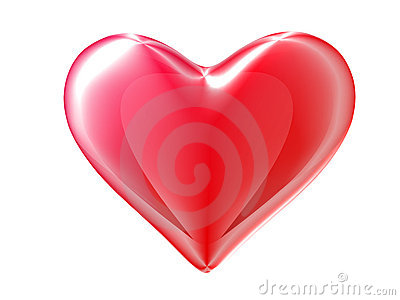 Red 3d heart. Clipping path included.