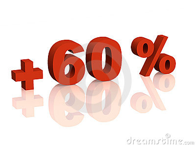 Red 3d inscription - plus of sixty percent