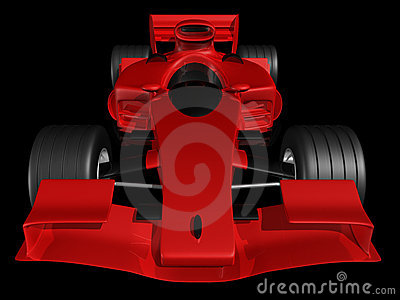 Red 3D race car front view on black background