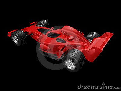 Red 3D race car rear view