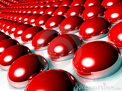 Red 3d spheres